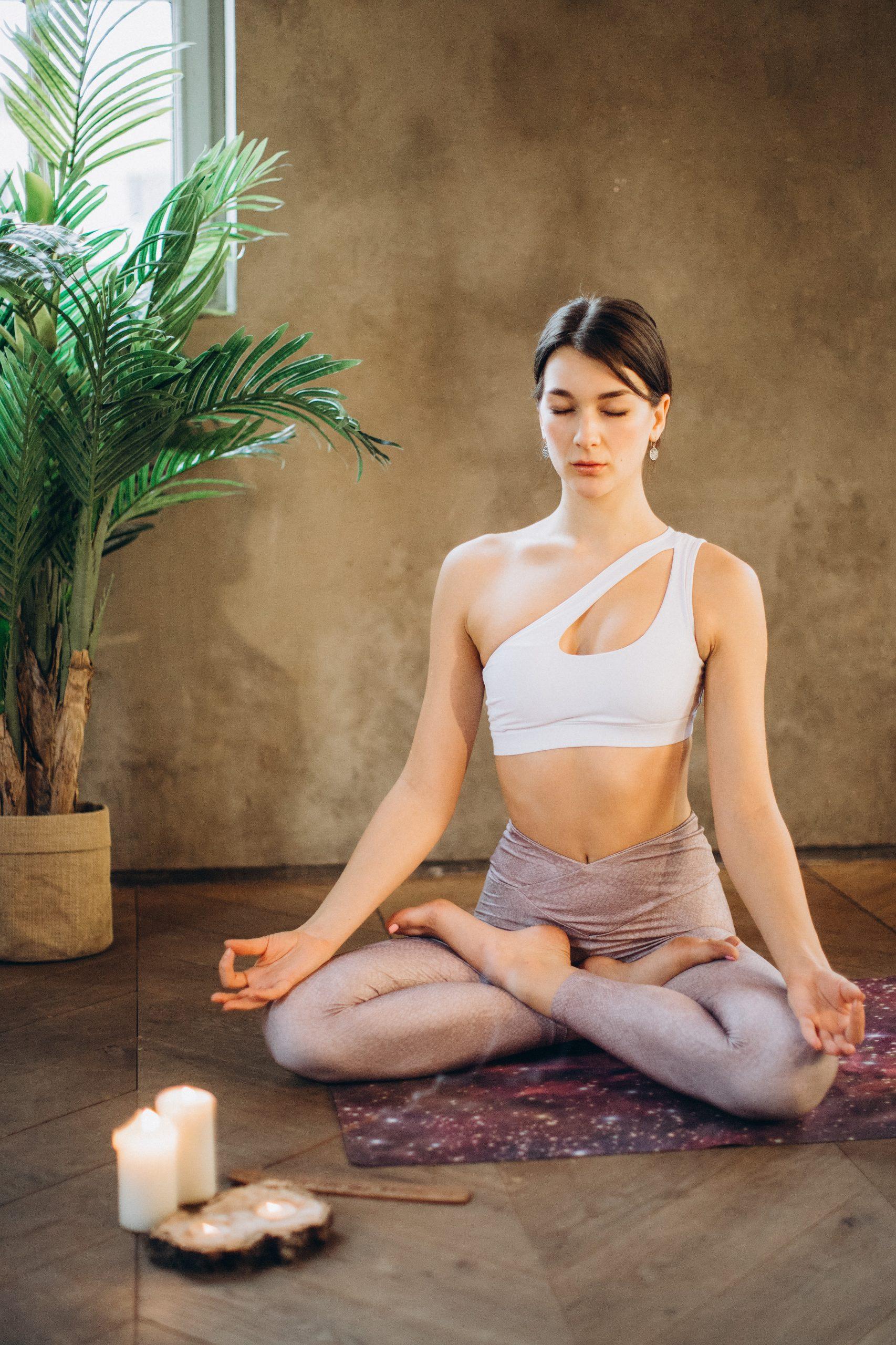 reduce stress woman meditating on floor