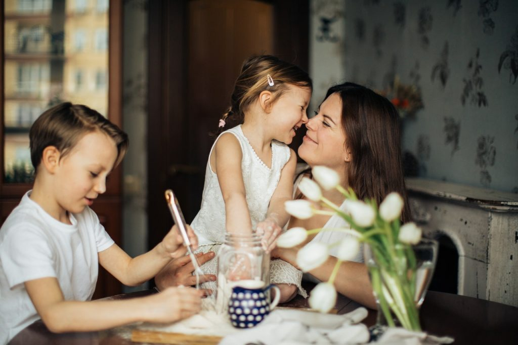 Conscious Parenting mother connecting with her children