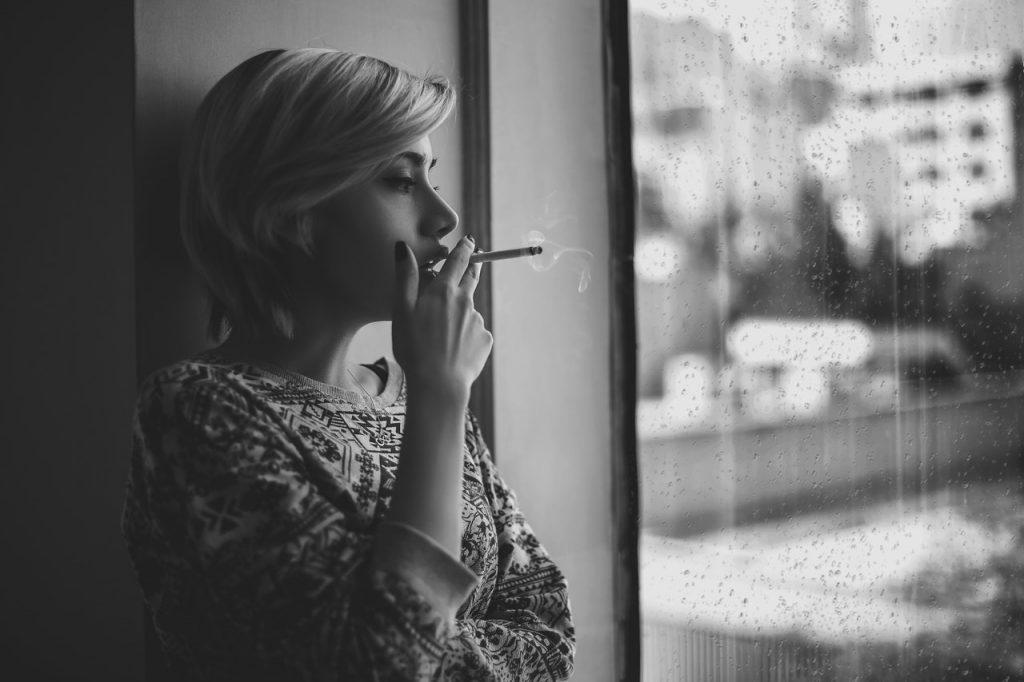 Overcoming addiction woman smoking