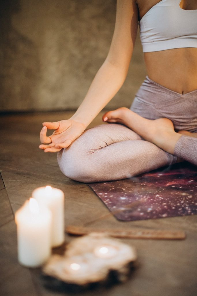 mindfulness and meditation woman relaxing in lotus pose