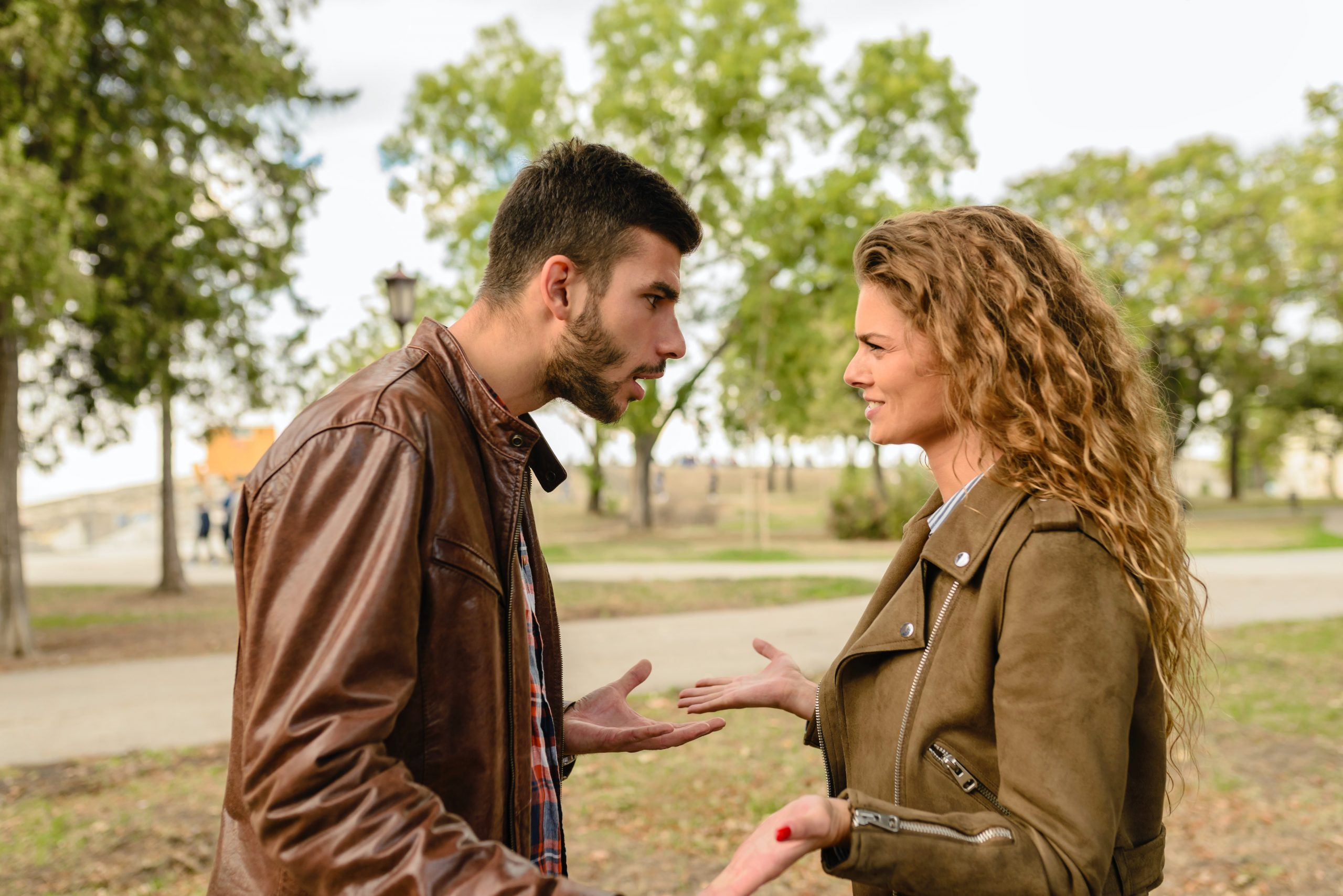 gaslighting couple fighting outisde
