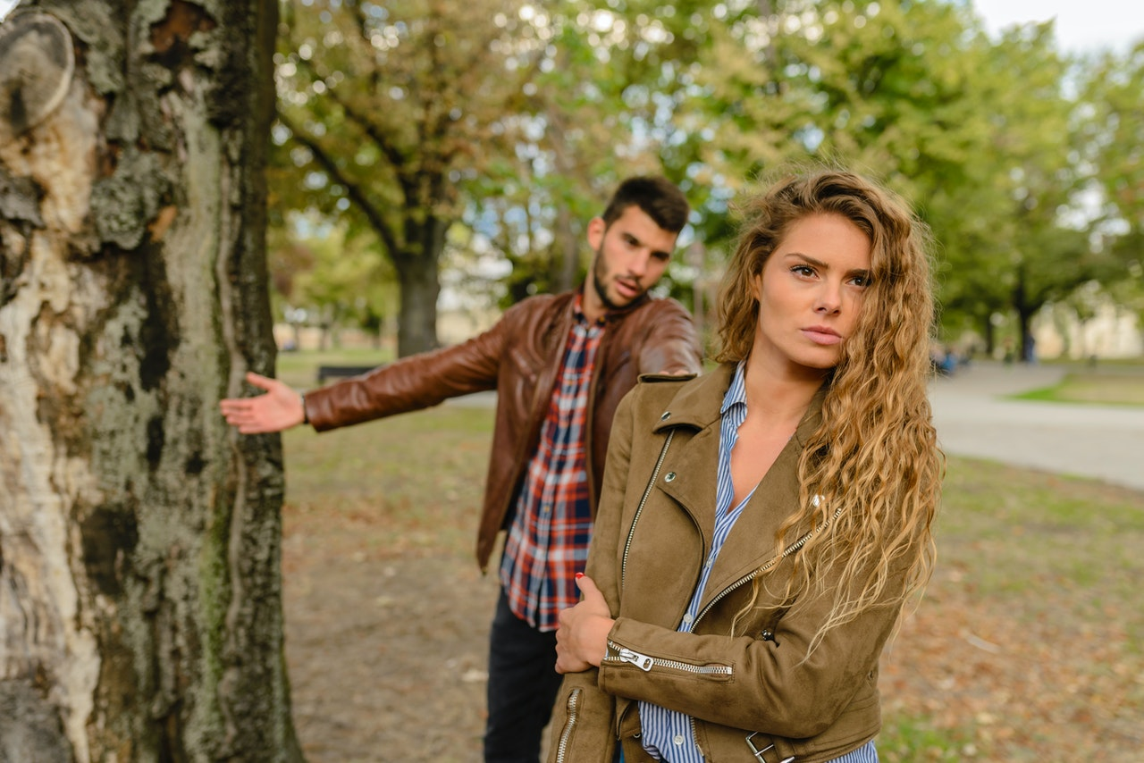 Toxic Relationship couple breaking up and walking away