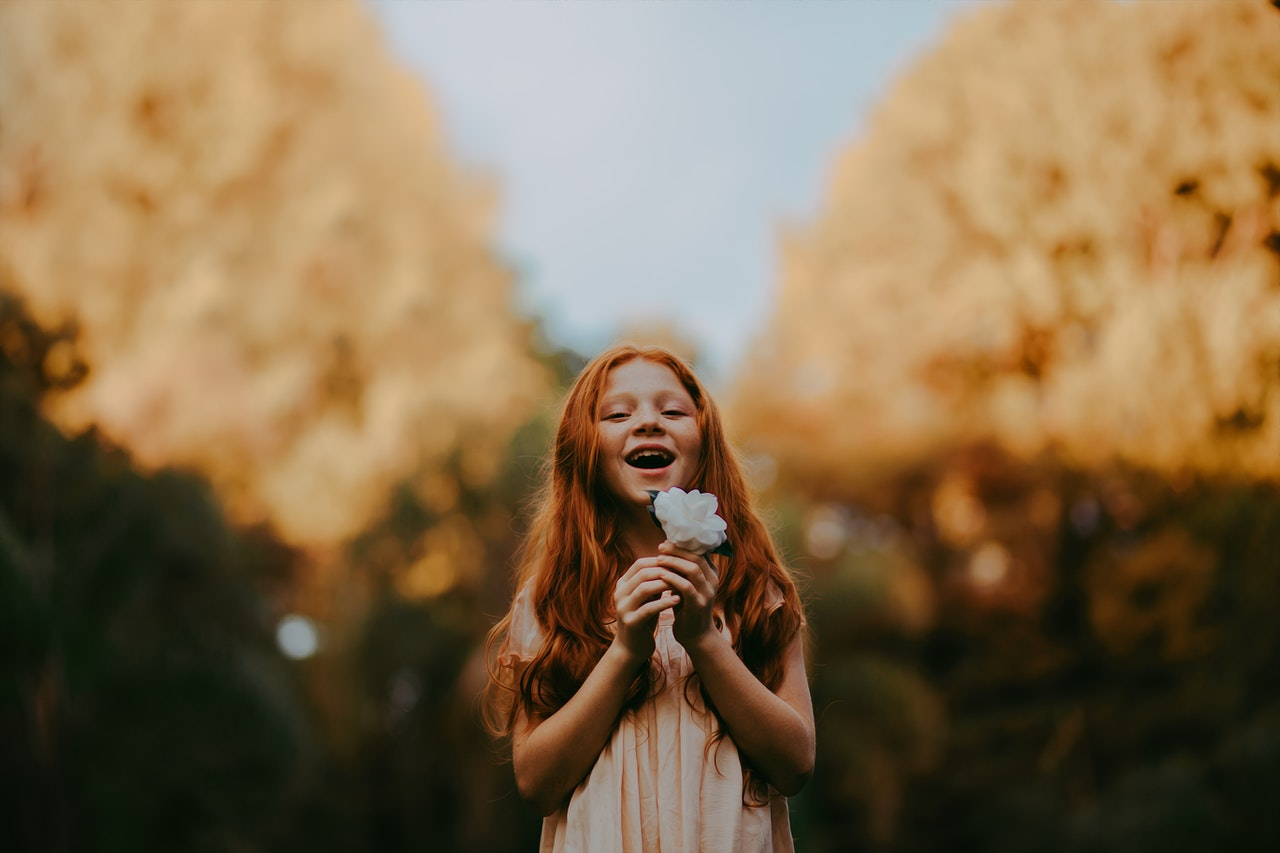 Affirmations young girl happy in psychology